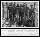 1946 Land Opening - Group of entrymen inspecting old barracks at Newell, California