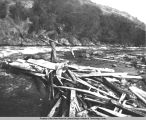 Rapids of Link River looking west. Man standing on pile of wood in river spear fishing